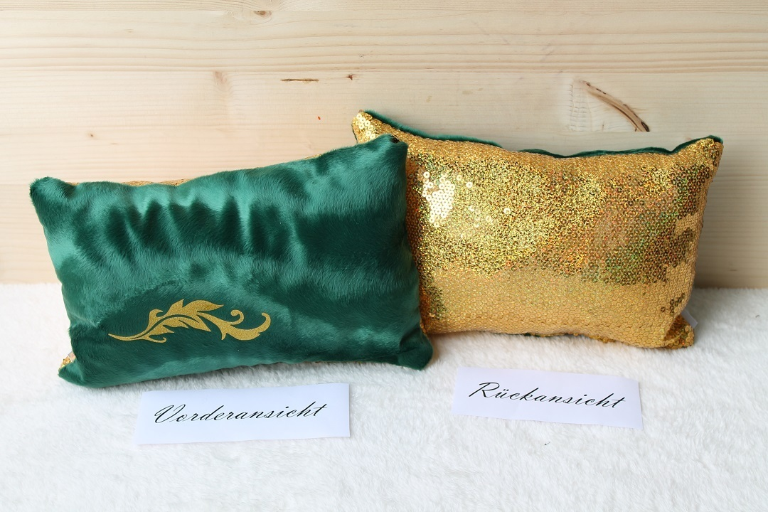 kissen gr n mit goldenen pailletten. Black Bedroom Furniture Sets. Home Design Ideas